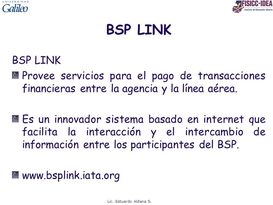 BSP LINK Provee servicios para el pago de transacciones financieras entre la agencia y la línea aérea. Es un innovador sistema basado en internet que