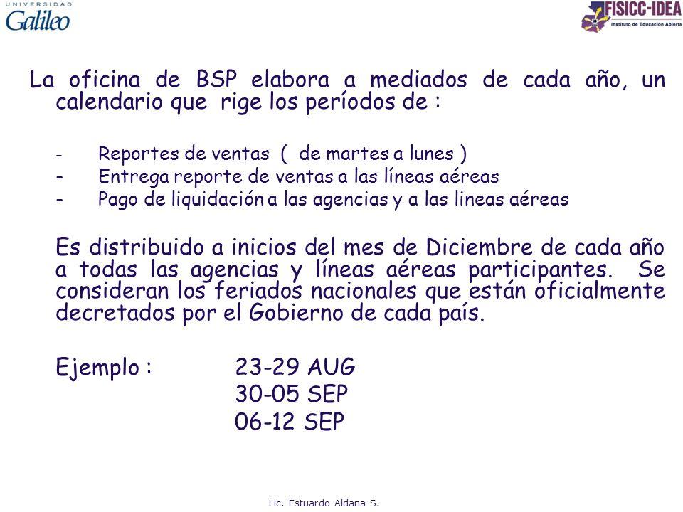 La oficina de BSP elabora a mediados de cada año, un calendario que rige los períodos de : - Reportes de ventas ( de martes a lunes ) -Entrega reporte