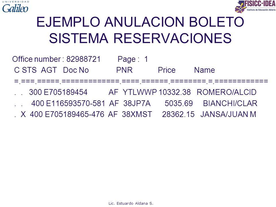 EJEMPLO ANULACION BOLETO SISTEMA RESERVACIONES Office number : 82988721 Page : 1 C STS AGT Doc No PNR Price Name =.===.=====.=============.====.======