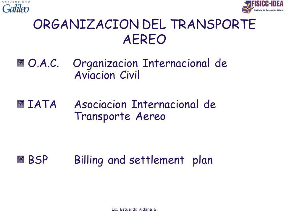 ORGANIZACION DEL TRANSPORTE AEREO O.A.C. Organizacion Internacional de Aviacion Civil IATAAsociacion Internacional de Transporte Aereo BSPBilling and