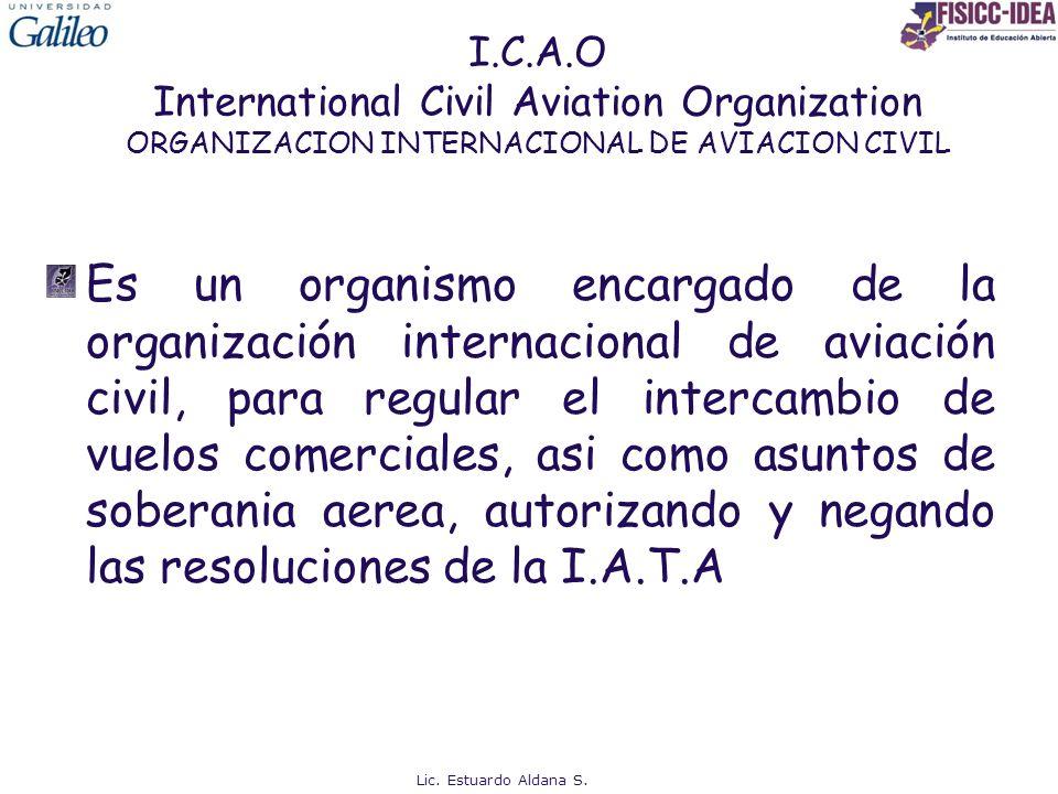 I.C.A.O International Civil Aviation Organization ORGANIZACION INTERNACIONAL DE AVIACION CIVIL Es un organismo encargado de la organización internacio