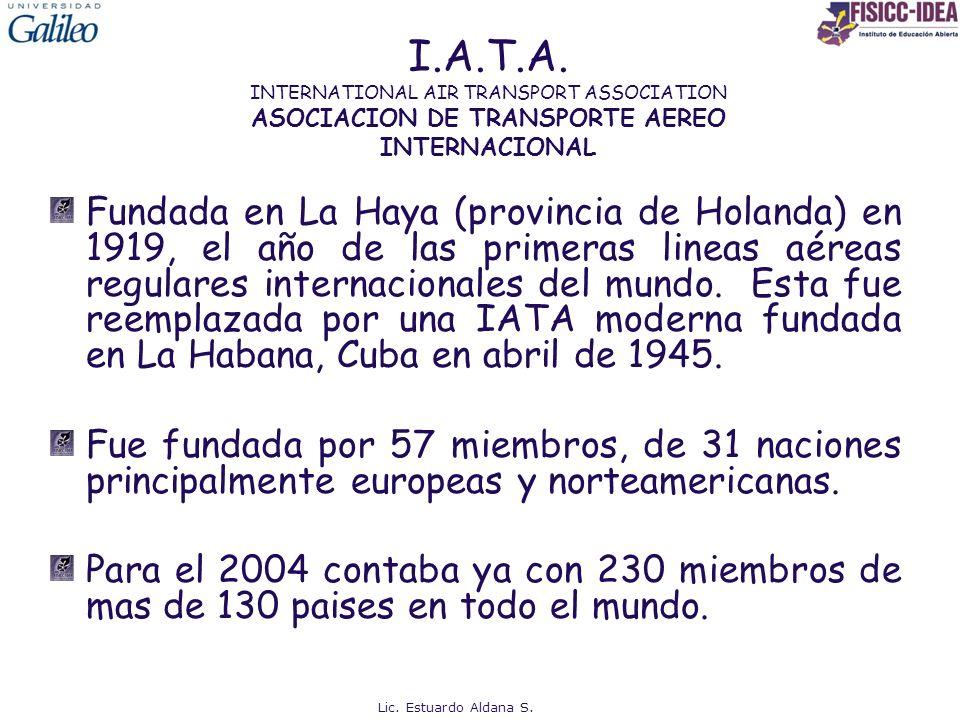 I.A.T.A. INTERNATIONAL AIR TRANSPORT ASSOCIATION ASOCIACION DE TRANSPORTE AEREO INTERNACIONAL Fundada en La Haya (provincia de Holanda) en 1919, el añ