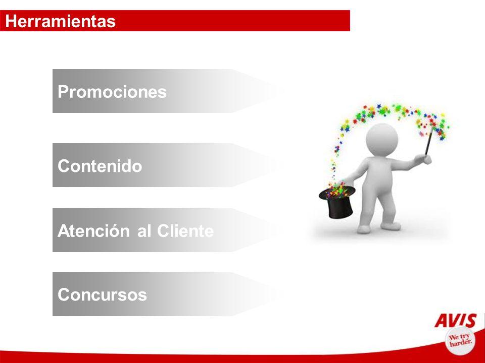 Herramientas Promociones Contenido Atención al Cliente Concursos