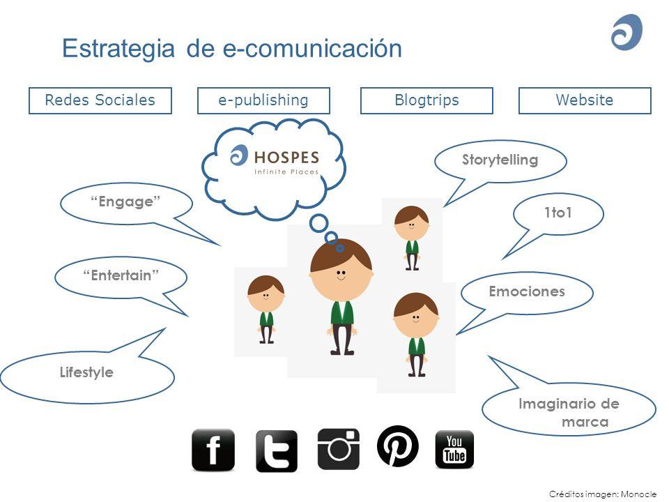Estrategia de e-comunicación Redes SocialesBlogtripse-publishingWebsite Storytelling Entertain 1to1 Emociones Imaginario de marca Engage Lifestyle Cré