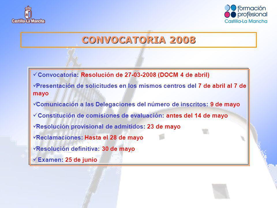 CONVOCATORIA 2008 Convocatoria: Resolución de 27-03-2008 (DOCM 4 de abril) Presentación de solicitudes en los mismos centros del 7 de abril al 7 de mayo Comunicación a las Delegaciones del número de inscritos: 9 de mayo Constitución de comisiones de evaluación: antes del 14 de mayo Resolución provisional de admitidos: 23 de mayo Reclamaciones: Hasta el 28 de mayo Resolución definitiva: 30 de mayo Examen: 25 de junio