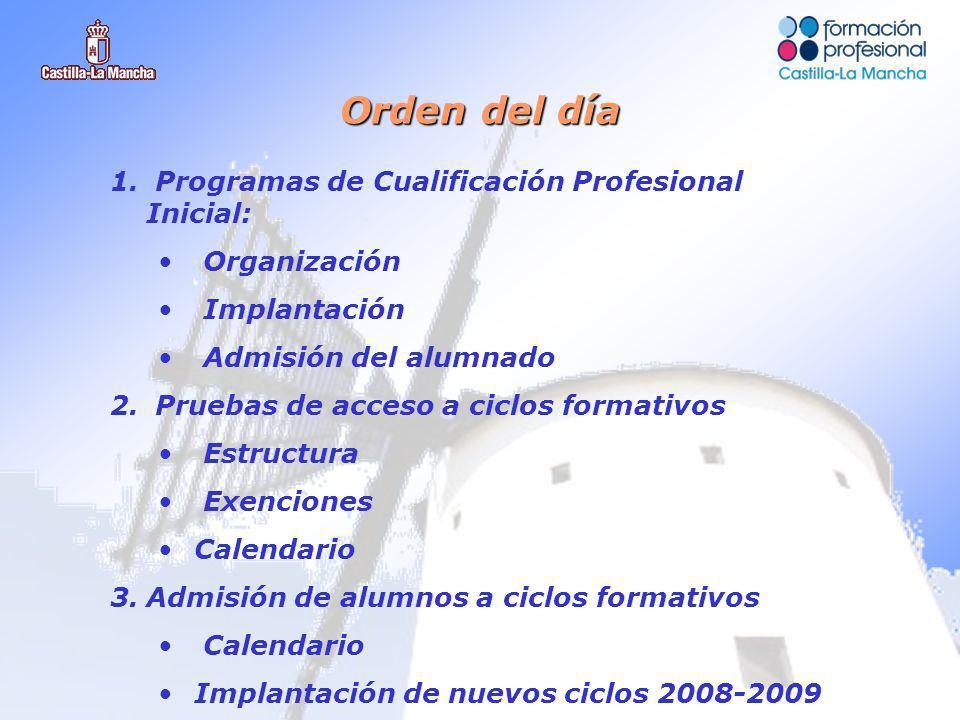 1. Programas de Cualificación Profesional Inicial: Organización Implantación Admisión del alumnado 2. Pruebas de acceso a ciclos formativos Estructura