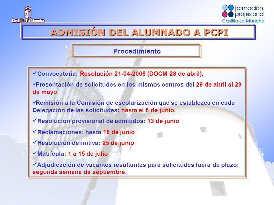 ADMISIÓN DEL ALUMNADO A PCPI Procedimiento Convocatoria: Resolución 21-04-2008 (DOCM 28 de abril).