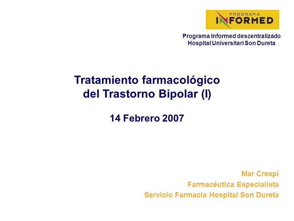 14 Febrero 2007 Mar Crespí Farmacéutica Especialista Servicio Farmacia Hospital Son Dureta Tratamiento farmacológico del Trastorno Bipolar (I) Programa Informed descentralizado Hospital Universitari Son Dureta