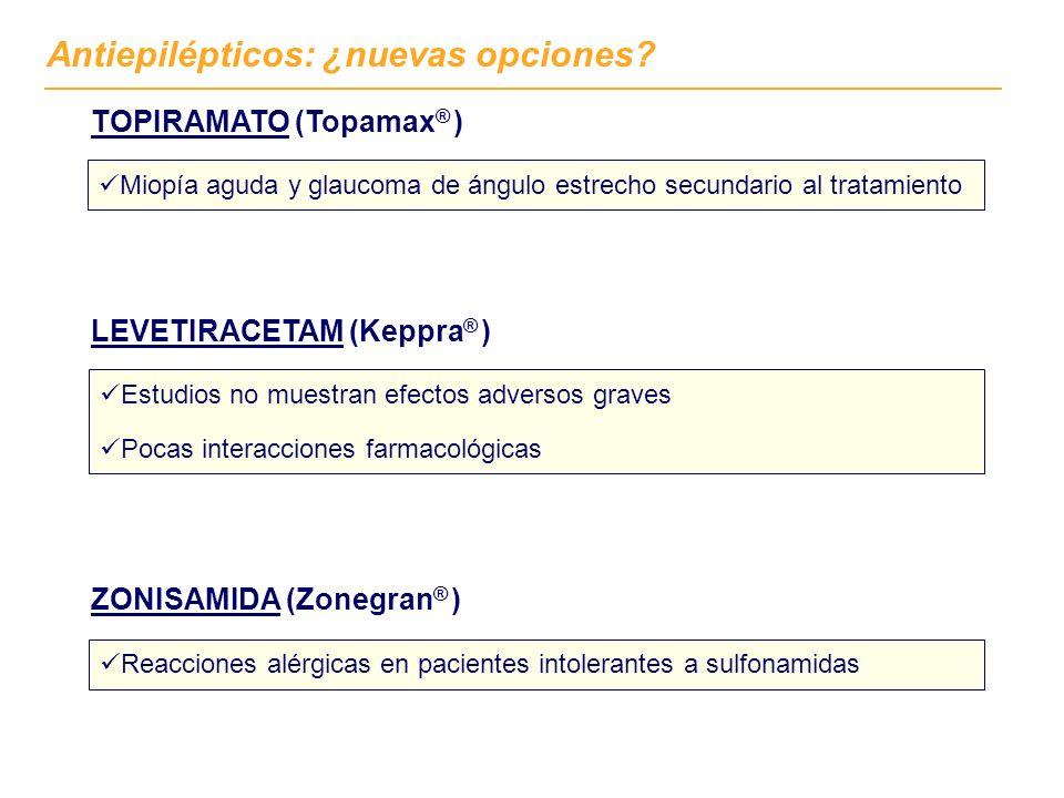 Antiepilépticos: ¿nuevas opciones? ZONISAMIDA (Zonegran ® ) Reacciones alérgicas en pacientes intolerantes a sulfonamidas LEVETIRACETAM (Keppra ® ) Es