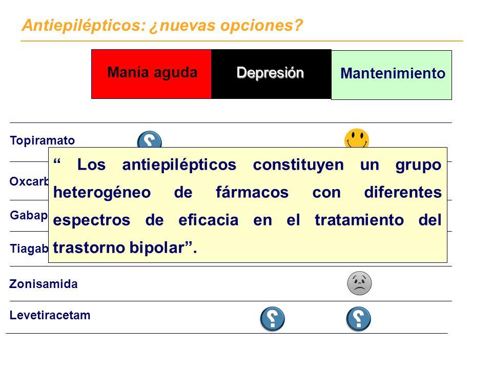 Topiramato Levetiracetam Gabapentina Tiagabina Zonisamida Antiepilépticos: ¿nuevas opciones? Oxcarbazepina Mantenimiento DepresiónManía aguda (combina