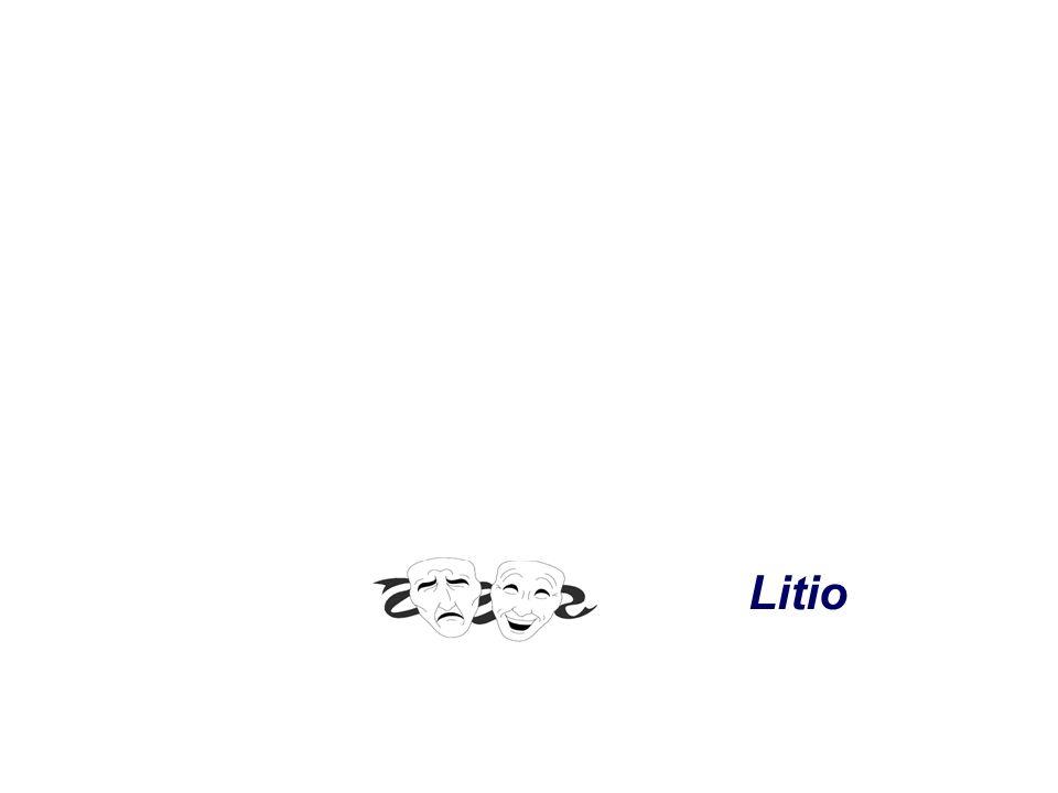 Farmacocinética - Casi nula unión a proteínas plasmáticas dializable - No metabolismo hepático - Excreción renal - Semivida eliminación: función renal normal: 20-24 h pacientes sometidos a terapia durante > 1 año: 2-4 días pacientes geriátricos: 36 h insuficiencia renal: 40-50 h Litio