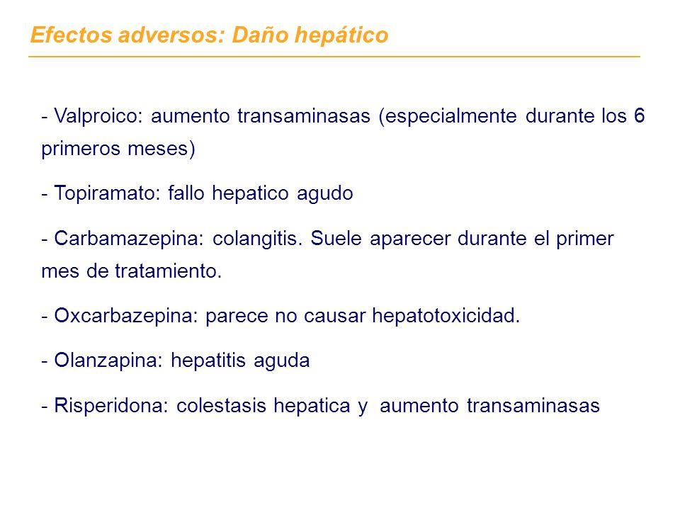 Efectos adversos: Daño hepático - Valproico: aumento transaminasas (especialmente durante los 6 primeros meses) - Topiramato: fallo hepatico agudo - C