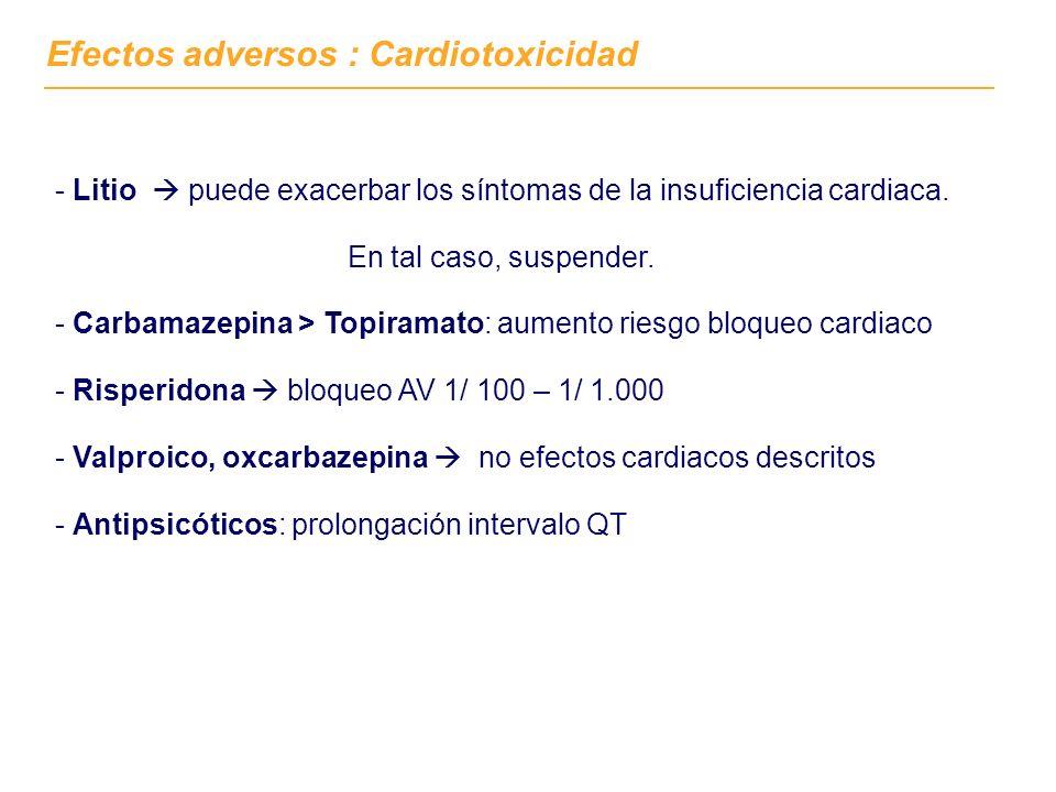 Efectos adversos : Cardiotoxicidad - Litio puede exacerbar los síntomas de la insuficiencia cardiaca. En tal caso, suspender. - Carbamazepina > Topira