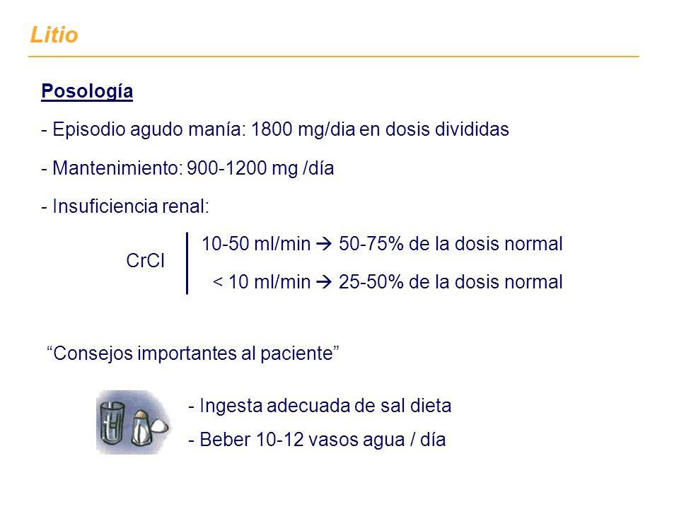 Posología - Episodio agudo manía: 1800 mg/dia en dosis divididas - Mantenimiento: 900-1200 mg /día - Insuficiencia renal: CrCl - Ingesta adecuada de sal dieta - Beber 10-12 vasos agua / día Consejos importantes al paciente 10-50 ml/min 50-75% de la dosis normal < 10 ml/min 25-50% de la dosis normal