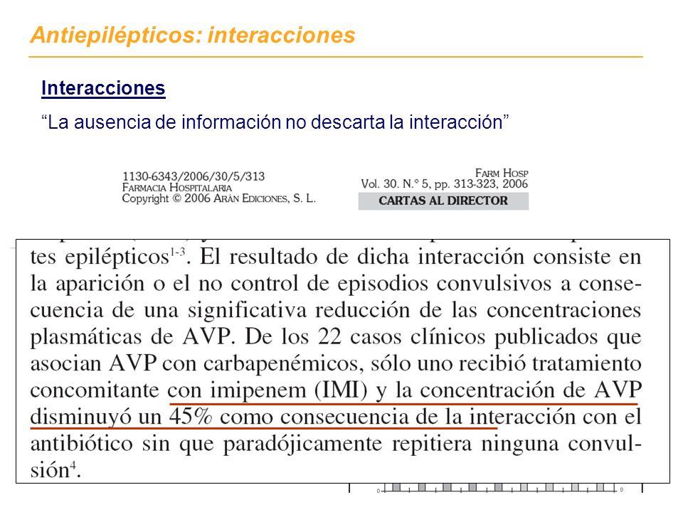 Interacciones La ausencia de información no descarta la interacción Antiepilépticos: interacciones