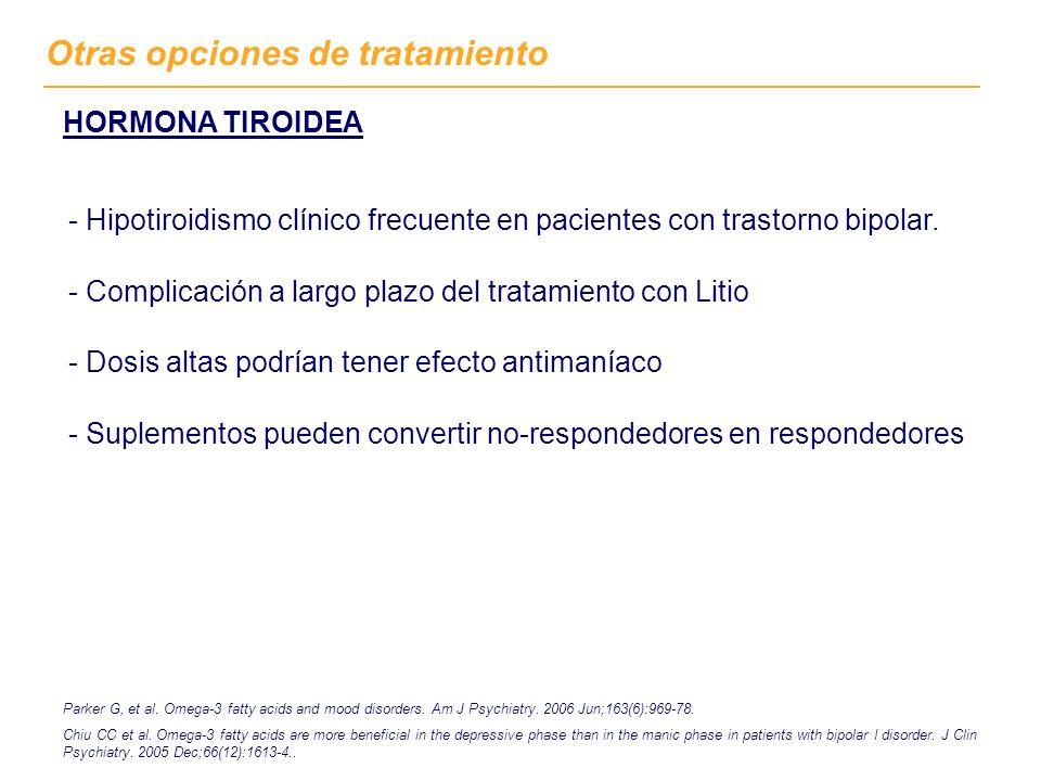 Otras opciones de tratamiento HORMONA TIROIDEA - Hipotiroidismo clínico frecuente en pacientes con trastorno bipolar. - Complicación a largo plazo del