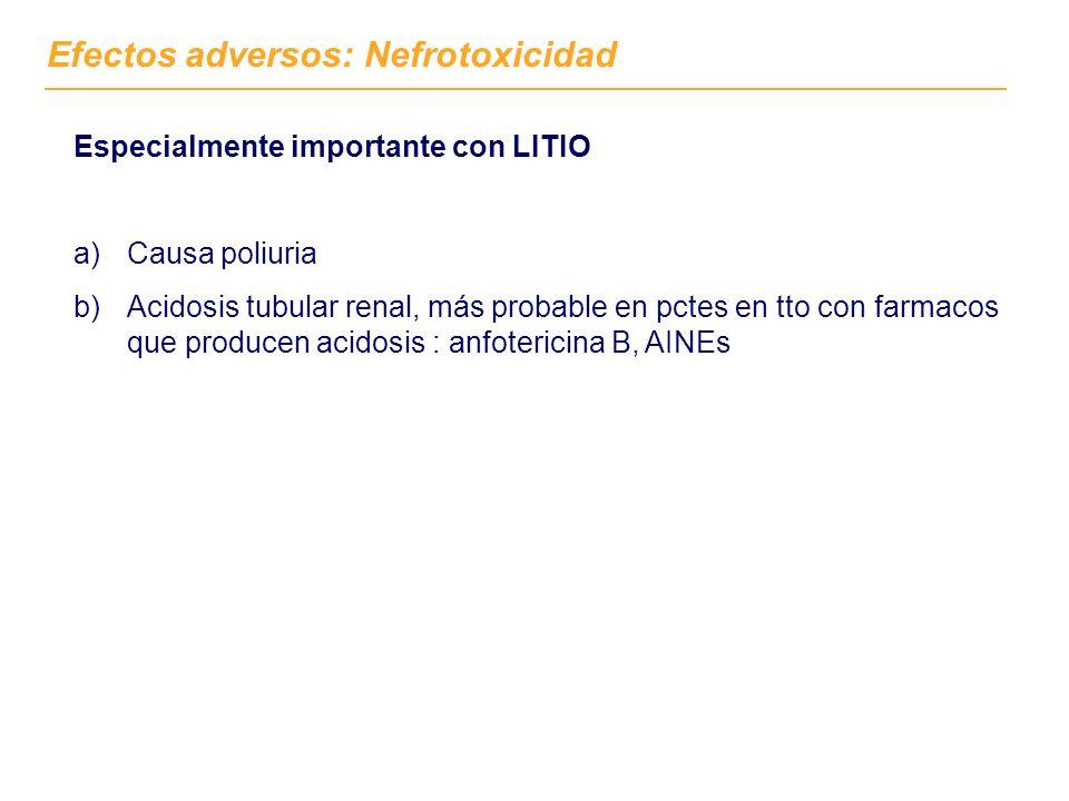Efectos adversos: Nefrotoxicidad Especialmente importante con LITIO a)Causa poliuria b)Acidosis tubular renal, más probable en pctes en tto con farmac