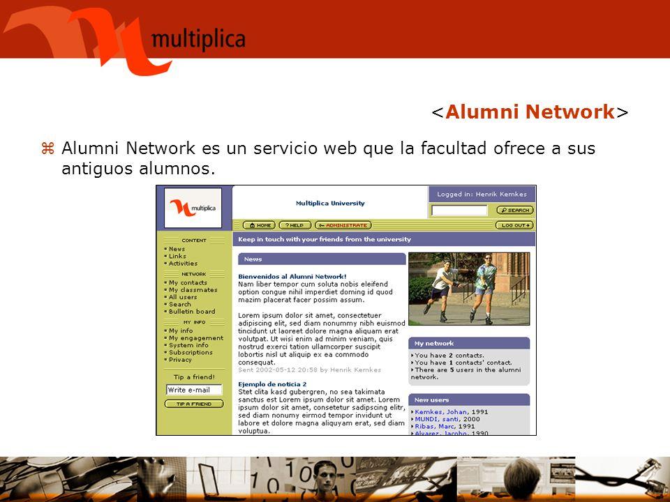 zAlumni Network es un servicio web que la facultad ofrece a sus antiguos alumnos.