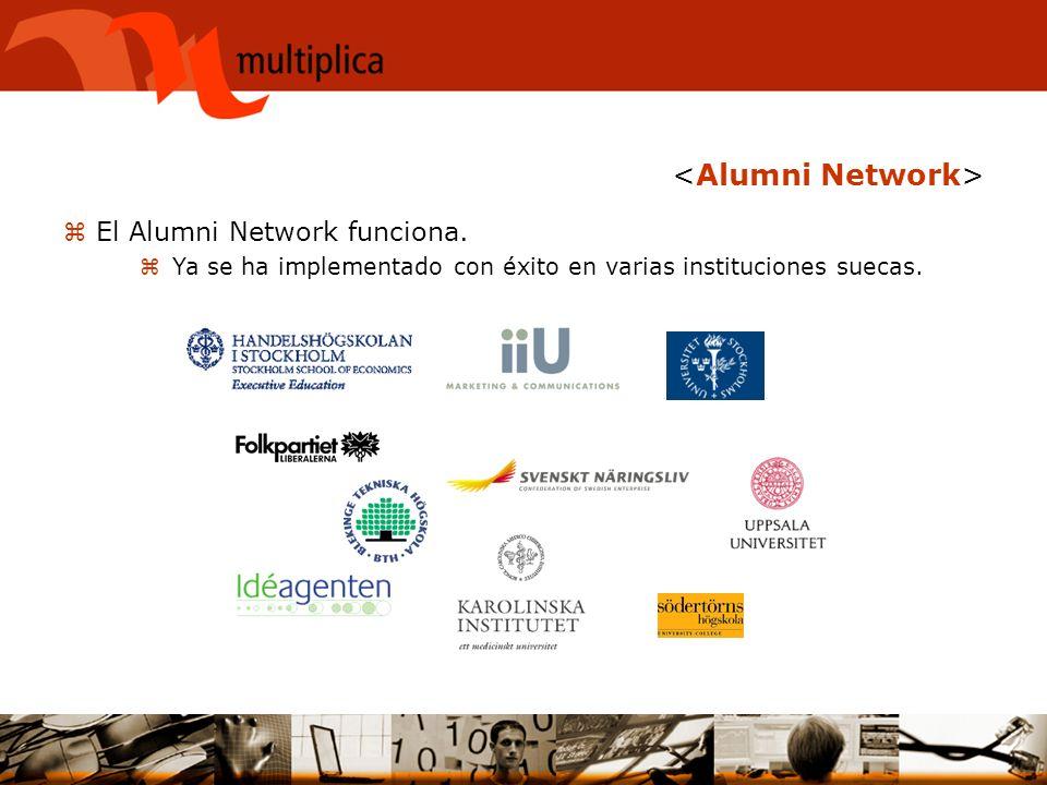 zEl Alumni Network funciona. zYa se ha implementado con éxito en varias instituciones suecas.