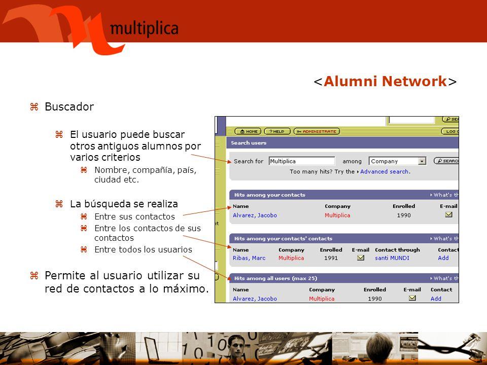 zBuscador zEl usuario puede buscar otros antiguos alumnos por varios criterios zNombre, compañía, país, ciudad etc. zLa búsqueda se realiza zEntre sus
