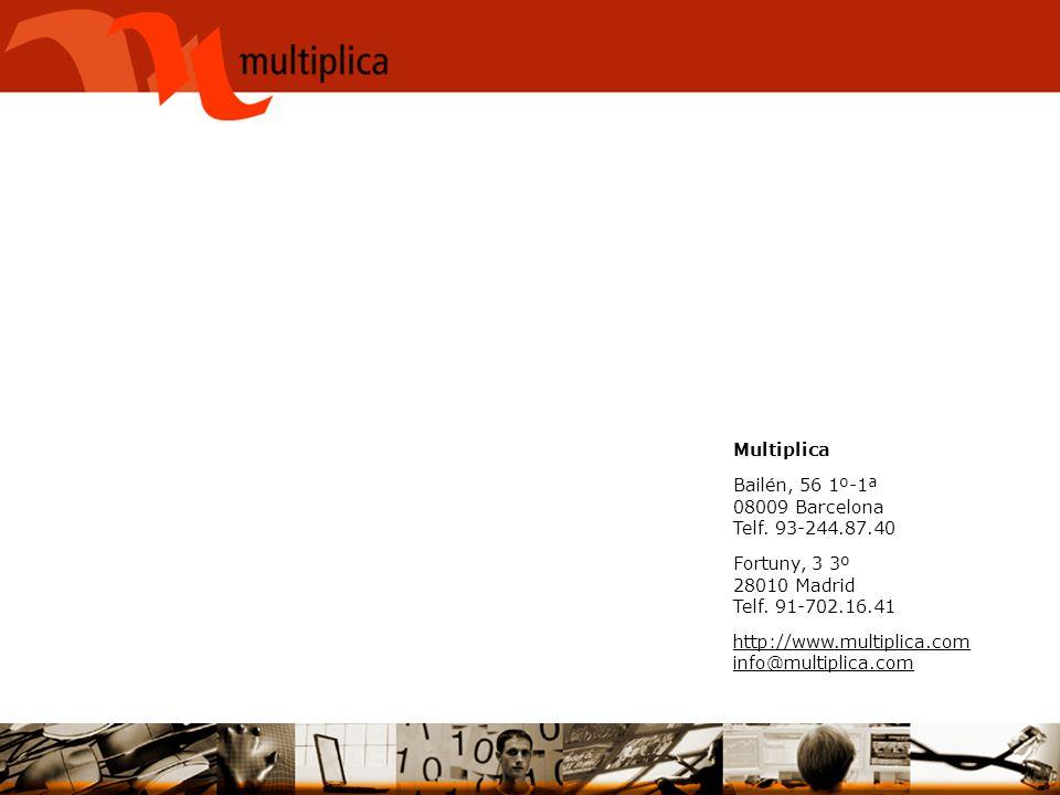 Multiplica Bailén, 56 1º-1ª 08009 Barcelona Telf. 93-244.87.40 Fortuny, 3 3º 28010 Madrid Telf. 91-702.16.41 http://www.multiplica.com info@multiplica