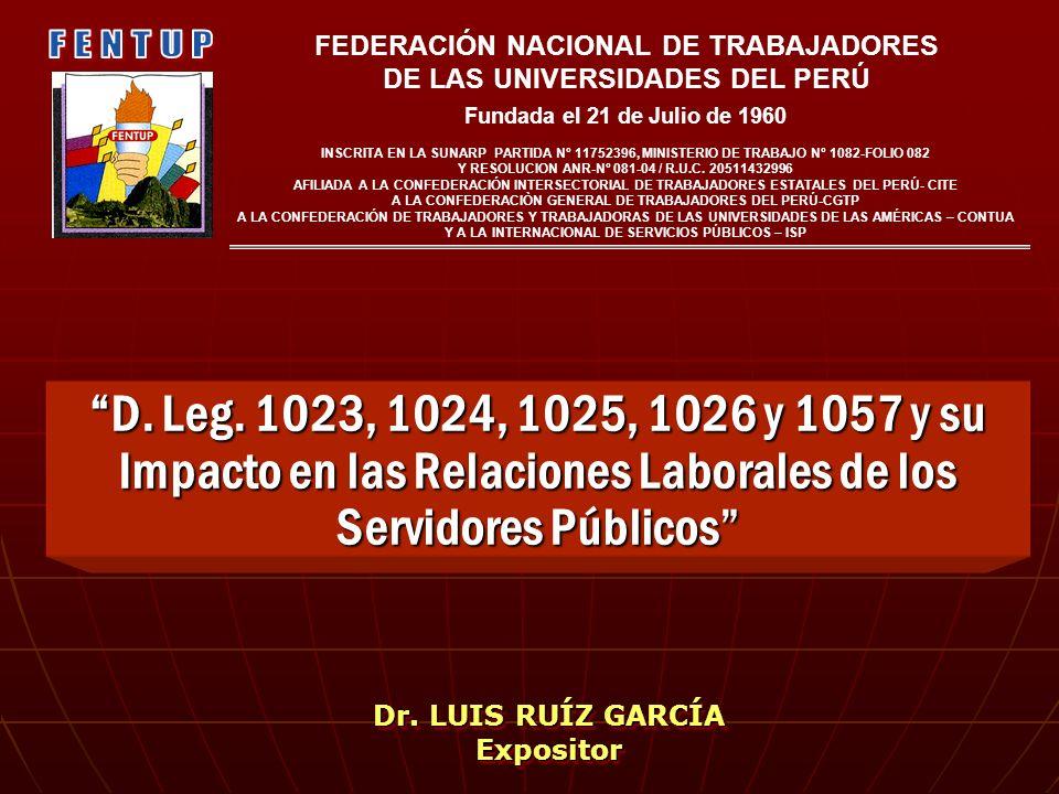 D. Leg. 1023, 1024, 1025, 1026 y 1057 y su Impacto en las Relaciones Laborales de los Servidores PúblicosD. Leg. 1023, 1024, 1025, 1026 y 1057 y su Im