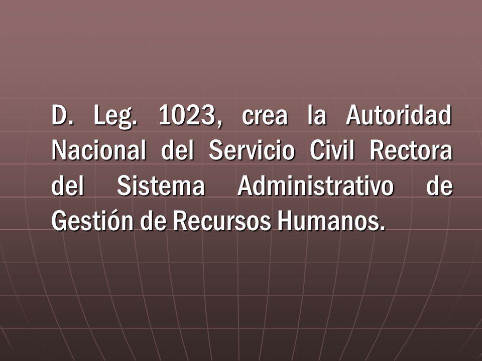 D. Leg. 1023, crea la Autoridad Nacional del Servicio Civil Rectora del Sistema Administrativo de Gestión de Recursos Humanos.