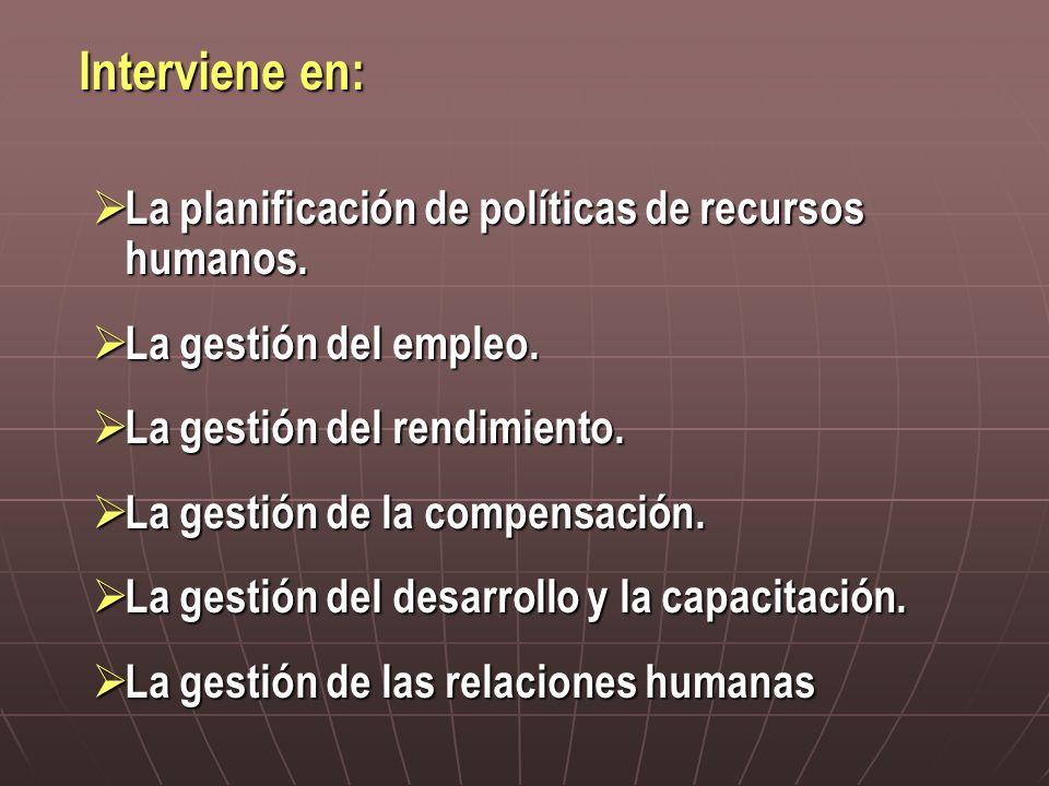 Interviene en: La planificación de políticas de recursos humanos. La planificación de políticas de recursos humanos. La gestión del empleo. La gestión