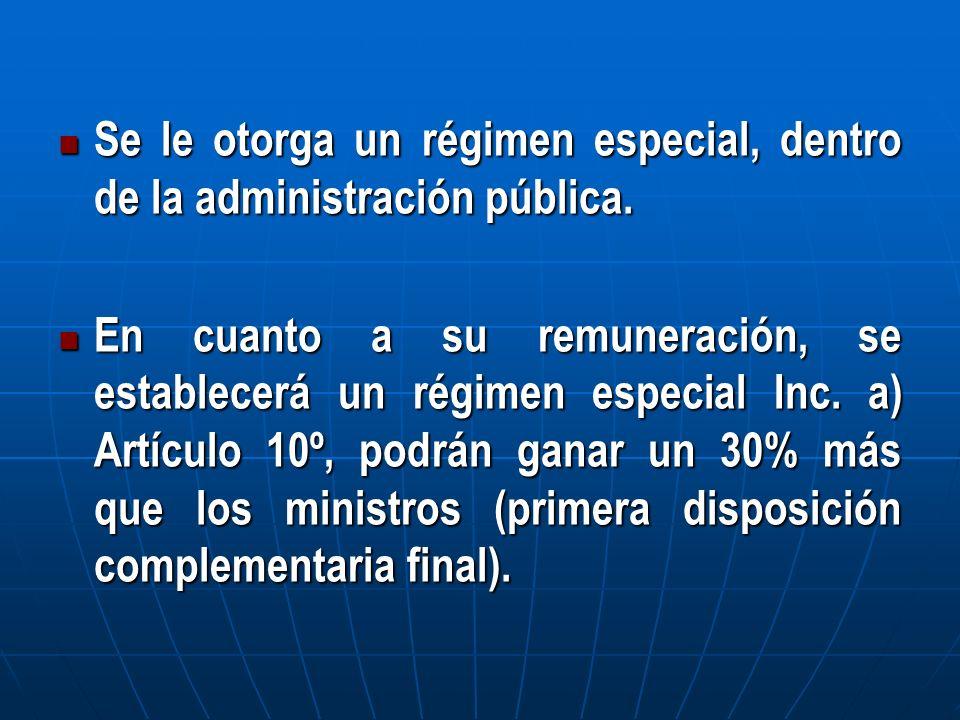 Se le otorga un régimen especial, dentro de la administración pública. Se le otorga un régimen especial, dentro de la administración pública. En cuant