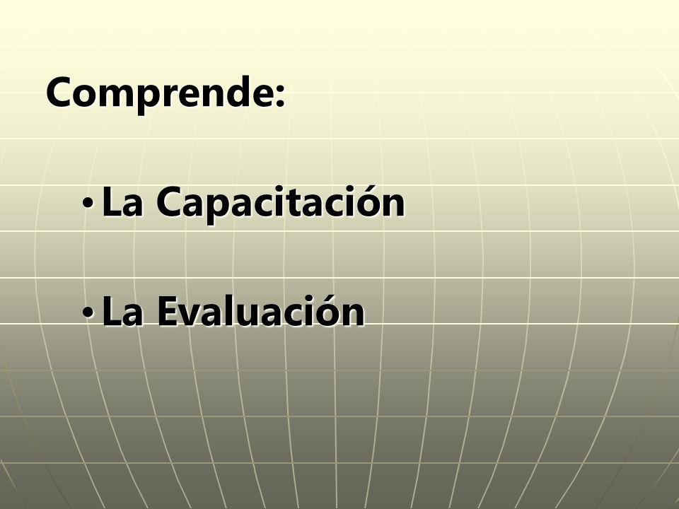 Comprende: La CapacitaciónLa Capacitación La EvaluaciónLa Evaluación