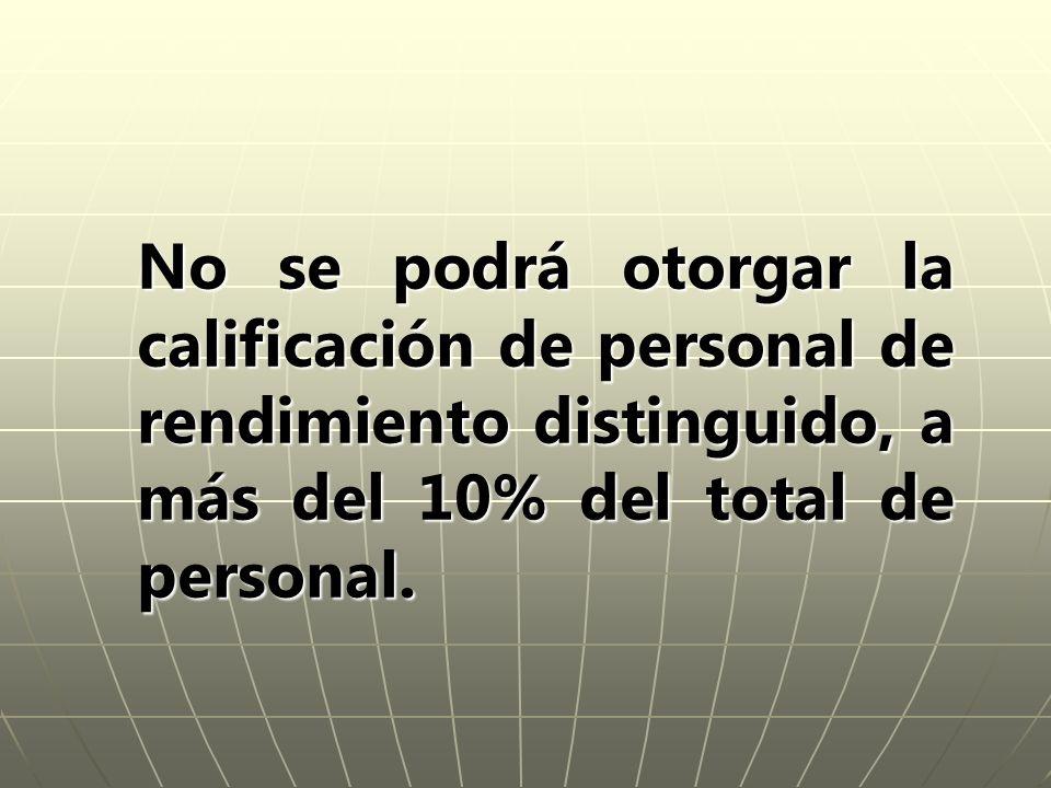 No se podrá otorgar la calificación de personal de rendimiento distinguido, a más del 10% del total de personal.