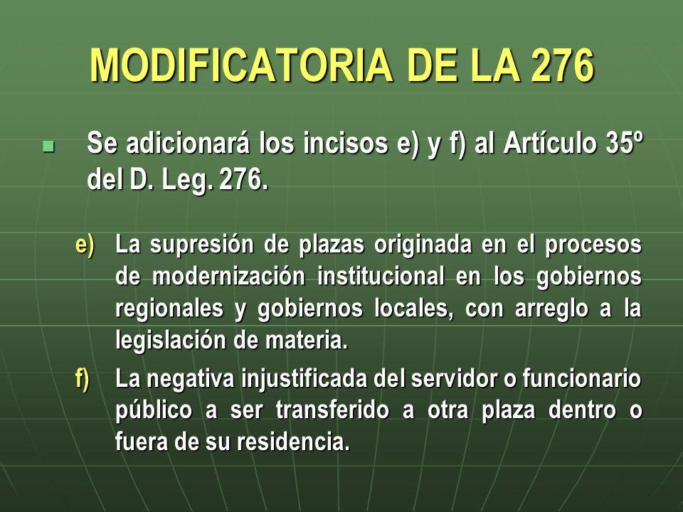 MODIFICATORIA DE LA 276 Se adicionará los incisos e) y f) al Artículo 35º del D. Leg. 276. Se adicionará los incisos e) y f) al Artículo 35º del D. Le