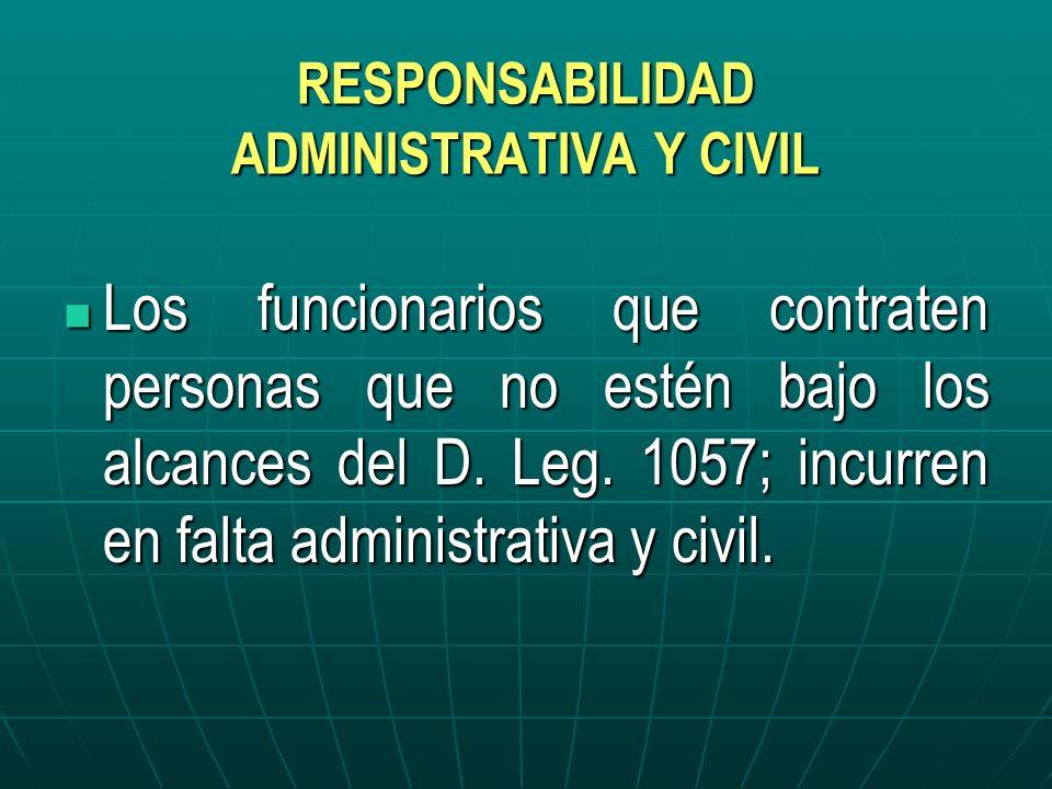 RESPONSABILIDAD ADMINISTRATIVA Y CIVIL Los funcionarios que contraten personas que no estén bajo los alcances del D. Leg. 1057; incurren en falta admi