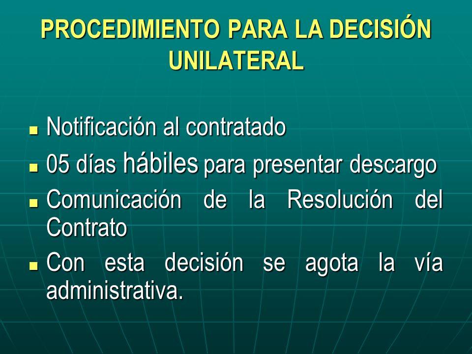 PROCEDIMIENTO PARA LA DECISIÓN UNILATERAL Notificación al contratado Notificación al contratado 05 días hábiles para presentar descargo 05 días hábile