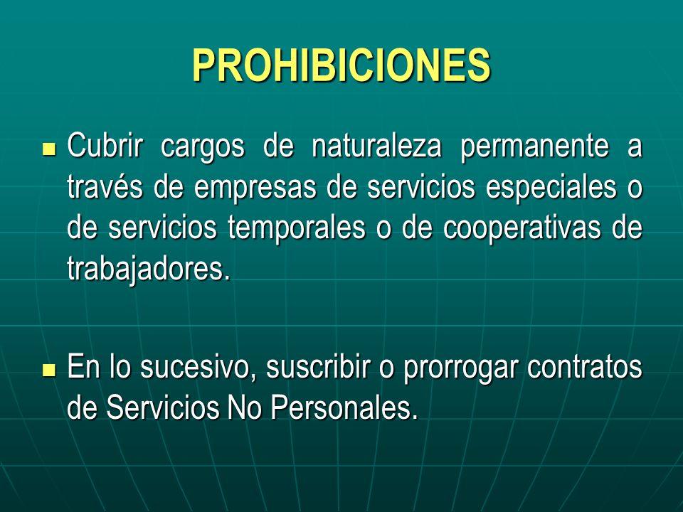 PROHIBICIONES Cubrir cargos de naturaleza permanente a través de empresas de servicios especiales o de servicios temporales o de cooperativas de traba