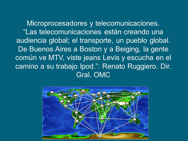 Microprocesadores y telecomunicaciones. Las telecomunicaciones están creando una audiencia global; el transporte, un pueblo global. De Buenos Aires a