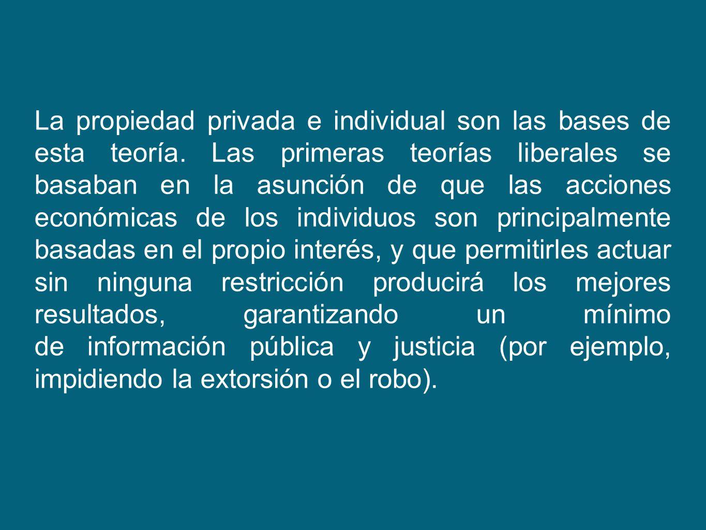 La propiedad privada e individual son las bases de esta teoría. Las primeras teorías liberales se basaban en la asunción de que las acciones económica