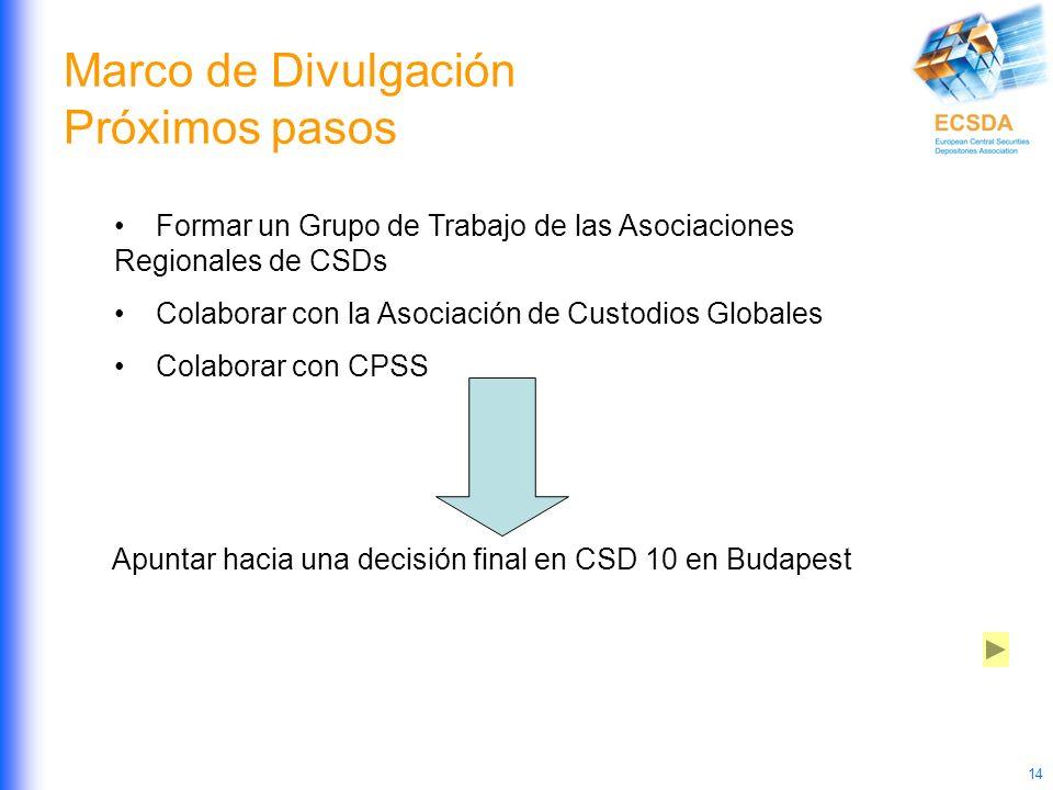 14 Marco de Divulgación Próximos pasos Formar un Grupo de Trabajo de las Asociaciones Regionales de CSDs Colaborar con la Asociación de Custodios Glob