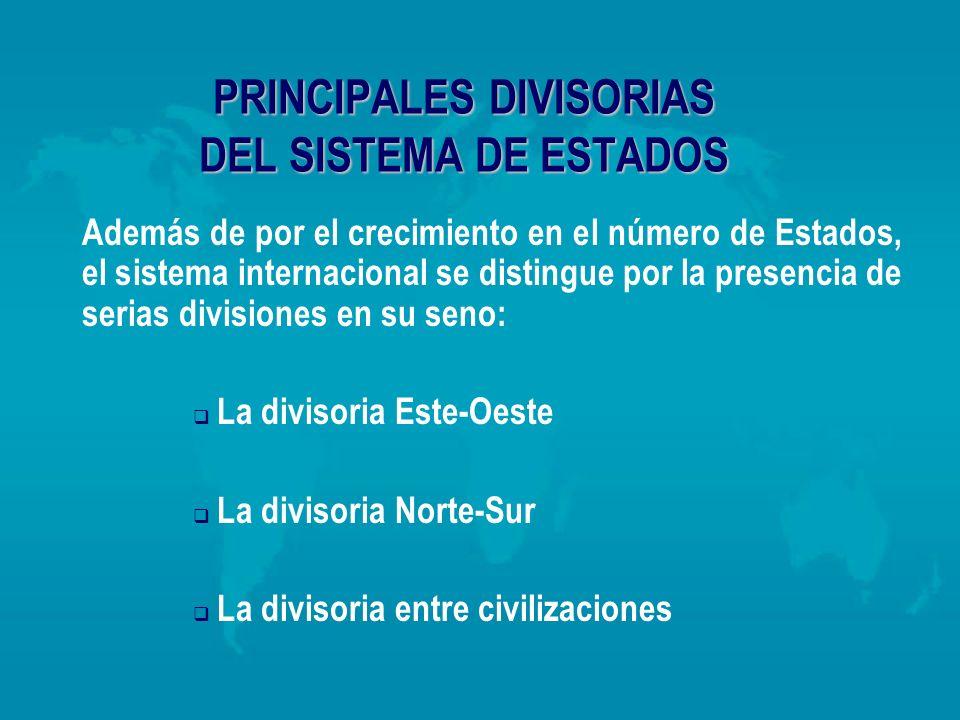 PRINCIPALES DIVISORIAS DEL SISTEMA DE ESTADOS Además de por el crecimiento en el número de Estados, el sistema internacional se distingue por la prese