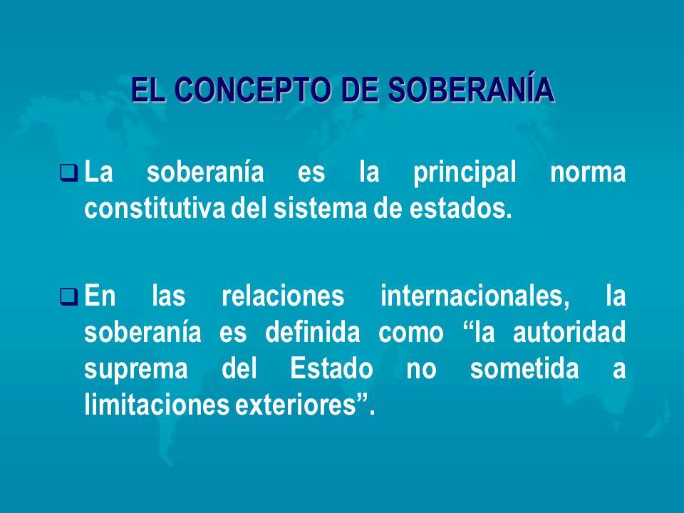 EL CONCEPTO DE SOBERANÍA La soberanía es la principal norma constitutiva del sistema de estados. En las relaciones internacionales, la soberanía es de