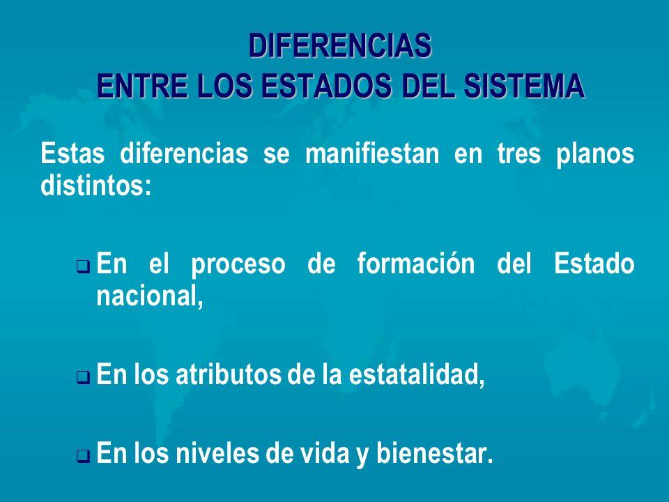 DIFERENCIAS ENTRE LOS ESTADOS DEL SISTEMA Estas diferencias se manifiestan en tres planos distintos: En el proceso de formación del Estado nacional, E