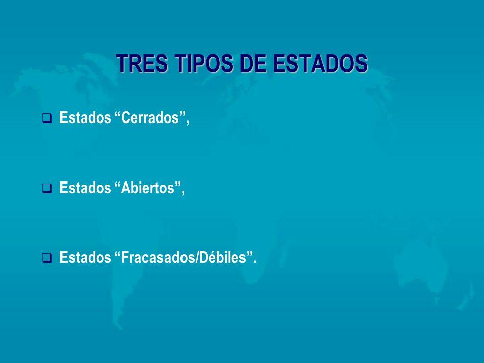 TRES TIPOS DE ESTADOS Estados Cerrados, Estados Abiertos, Estados Fracasados/Débiles.