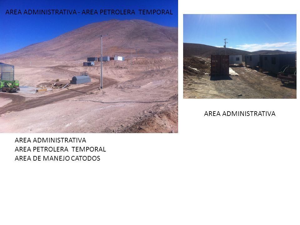 AREA ADMINISTRATIVA AREA PETROLERA TEMPORAL AREA DE MANEJO CATODOS AREA ADMINISTRATIVA - AREA PETROLERA TEMPORAL