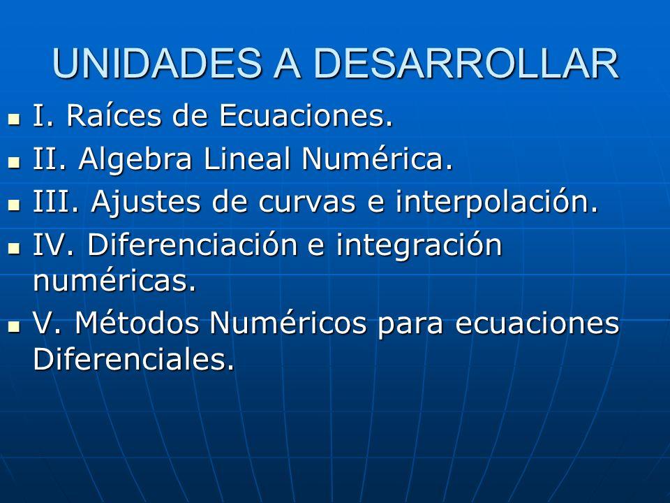 UNIDADES A DESARROLLAR I. Raíces de Ecuaciones. I. Raíces de Ecuaciones. II. Algebra Lineal Numérica. II. Algebra Lineal Numérica. III. Ajustes de cur
