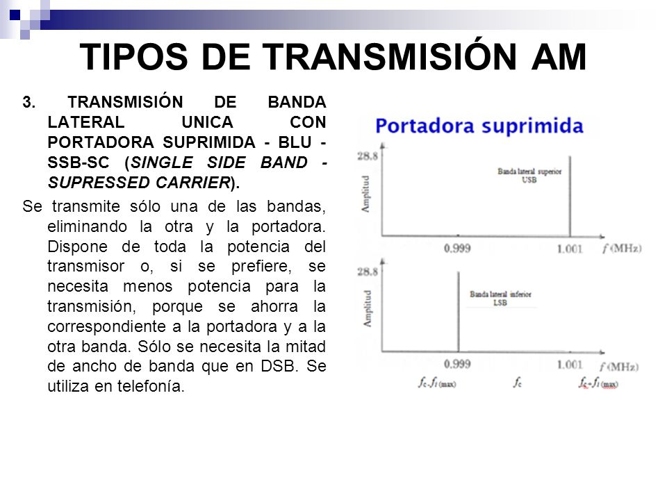 TIPOS DE TRANSMISIÓN AM 3. TRANSMISIÓN DE BANDA LATERAL UNICA CON PORTADORA SUPRIMIDA - BLU - SSB-SC (SINGLE SIDE BAND - SUPRESSED CARRIER). Se transm