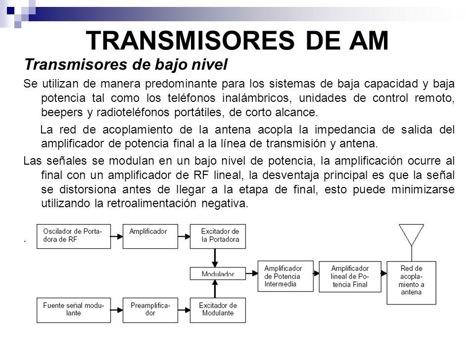 TRANSMISORES DE AM Transmisores de bajo nivel Se utilizan de manera predominante para los sistemas de baja capacidad y baja potencia tal como los telé