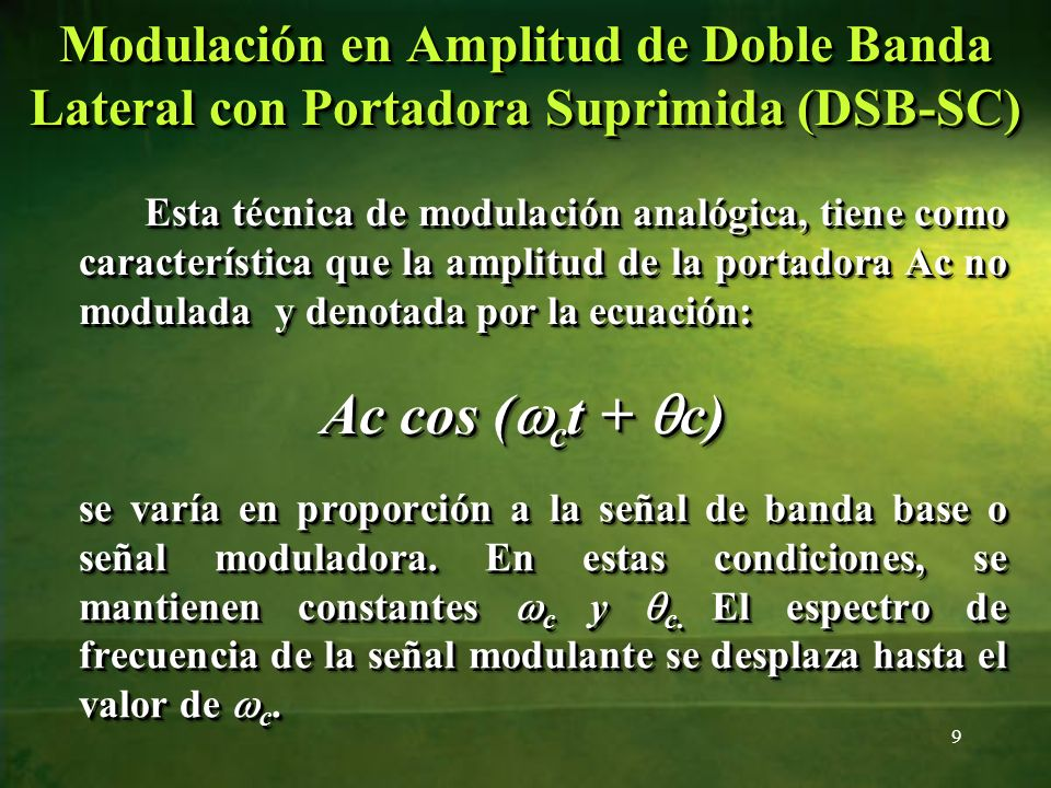 Espectro de frecuencias de señal modulante, portadora y señal AM con portadora suprimida Espectro de frecuencias de señal modulante, portadora y señal AM con portadora suprimida 10 f(t) cos(Wc.t) f(t).cos(Wc.t) Veamos una Simulación Modulación en Amplitud de Doble Banda Lateral con Portadora Suprimida (DSB-SC)