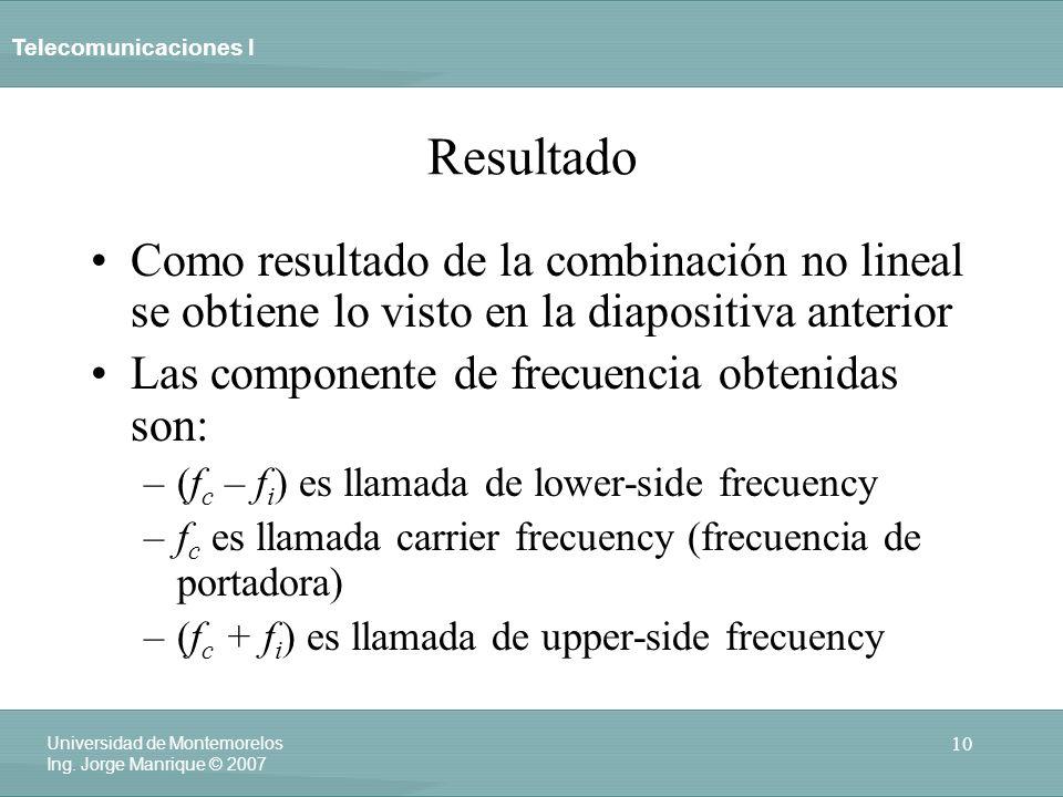 Telecomunicaciones I 10 Universidad de Montemorelos Ing. Jorge Manrique © 2007 Resultado Como resultado de la combinación no lineal se obtiene lo vist