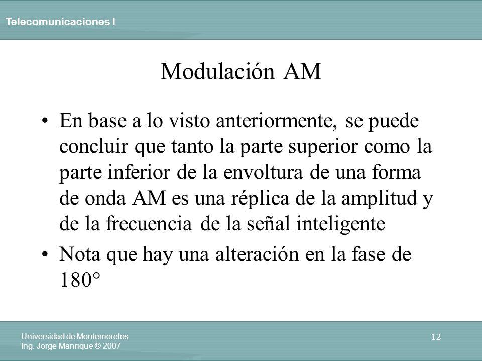 Telecomunicaciones I 12 Universidad de Montemorelos Ing. Jorge Manrique © 2007 Modulación AM En base a lo visto anteriormente, se puede concluir que t