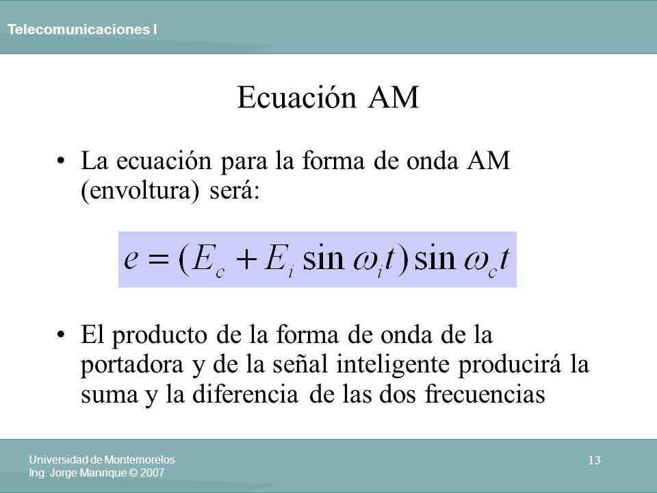 Telecomunicaciones I 13 Universidad de Montemorelos Ing. Jorge Manrique © 2007 Ecuación AM La ecuación para la forma de onda AM (envoltura) será: El p